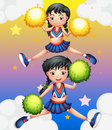 Two cheerdancers dancing with their pom poms illustration of the Royalty Free Stock Images