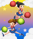 Two cheerdancers illustration of the Royalty Free Stock Photography