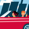 Two cheerful girls in red car Royalty Free Stock Photo