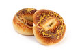 Two cheese bagels on white background Stock Photo