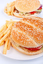 Two cheeseburgers with fries Stock Images