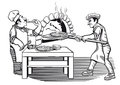 Two chefs making pizza illustration of in characteristic uniform one tasting and the other putting into a hot flaming oven Stock Image