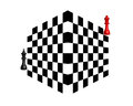 Two chess pieces black and red on a white background Stock Photography