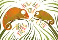 Two childish colorful lizards greeting with signs funny smiling chameleons eating insects illustration vector illustration eps Royalty Free Stock Photo