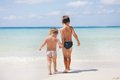 Two children on beach Royalty Free Stock Images