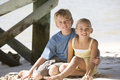 Two children on a beach Royalty Free Stock Photo