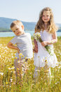 Two children boy and girl at camomile field Royalty Free Stock Photo