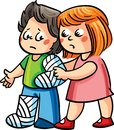 A girl helping an ill boy to walk. Vector illustration.