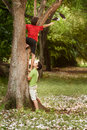 Two children helping and climbing on tree in park Royalty Free Stock Photo