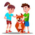 Two Children Petting A Happy Dog Vector. Isolated Illustration Royalty Free Stock Photo