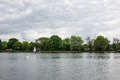 Two children practice sailing on a Spring day in South Norwood l