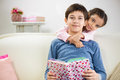 Two children reading book at home Royalty Free Stock Photo