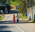 Two children on road