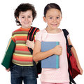 Two children students returning to school Stock Photo