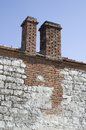 Two chimneys on old house, Bulgaria Royalty Free Stock Photo