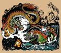 Two Chinese East Asian dragons encircling a flaming pearl