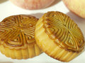 Two chinese moon cake food for mid autumn festival Stock Images