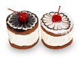 Two chocolate cakes with cherry Royalty Free Stock Photo