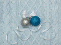 Two christmas balls on the knit background Stock Image