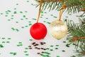 Two christmas balls on the tree Stock Photo