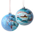 Two christmas balls on white with drawing freehand rustic winter landscape isolated background focus front ball Stock Photography