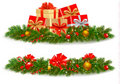Two Christmas banners with gift boxes. Stock Photography