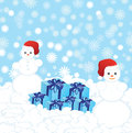 Two Christmas Snowmans Royalty Free Stock Photos