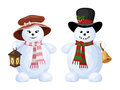 Two christmas snowmen a boy and a girl with bell lantern isolated on white background Stock Image