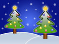 Two Christmas trees Stock Photography