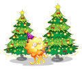 Two christmas trees at the back of a happy monster illustration on white background Stock Photo