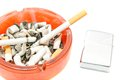 Two cigarettes and lighter on white background Royalty Free Stock Photo
