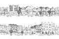 Two city banners with Victorian style houses Royalty Free Stock Photo