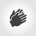 Two clapping human hands black icon. Flat sign of applause, encouragement, approval. Web graphic pictograph