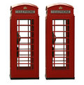 Two classic red British telephone box, isolated on