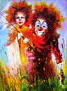 Two clowns on fishing Royalty Free Stock Photo
