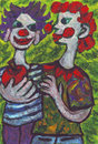 Two clowns friends painting of Stock Photo