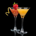 Two cocktails red cosmopolitan cocktail decorated with citrus le Royalty Free Stock Photo