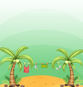 Two coconut trees with hanging clothes illustration of the Stock Photo