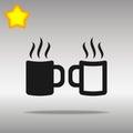 Two Coffee cup black Icon button logo symbol