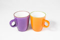 Two coffee mugs on with background Stock Images