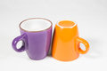 Two coffee mugs on white background Stock Image