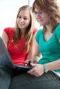 Two college students studying/working Stock Image