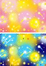 Two color backgrounds with holiday bright firework Royalty Free Stock Image