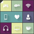 Two colored flat icons beautiful white and grey for web and mobile applications Royalty Free Stock Photos