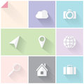 Two colored flat icons clean white and grey for web and mobile applications Stock Photography