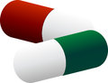 Two colored pills vector illustration Stock Image