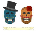 Two colored skull vector illustration blue and orange Royalty Free Stock Photography