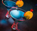 Two colorful blue cocktails Royalty Free Stock Photo