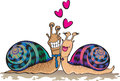 Two colorful cartoon snails madly in love charismatic the have beautiful shells and comical personalities Royalty Free Stock Photography