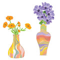 Two colorful ceramic vases with flower Royalty Free Stock Photo